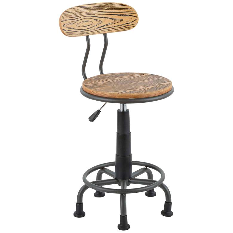 Dakota Gray Metal and Natural Wood Adjustable Task Chair