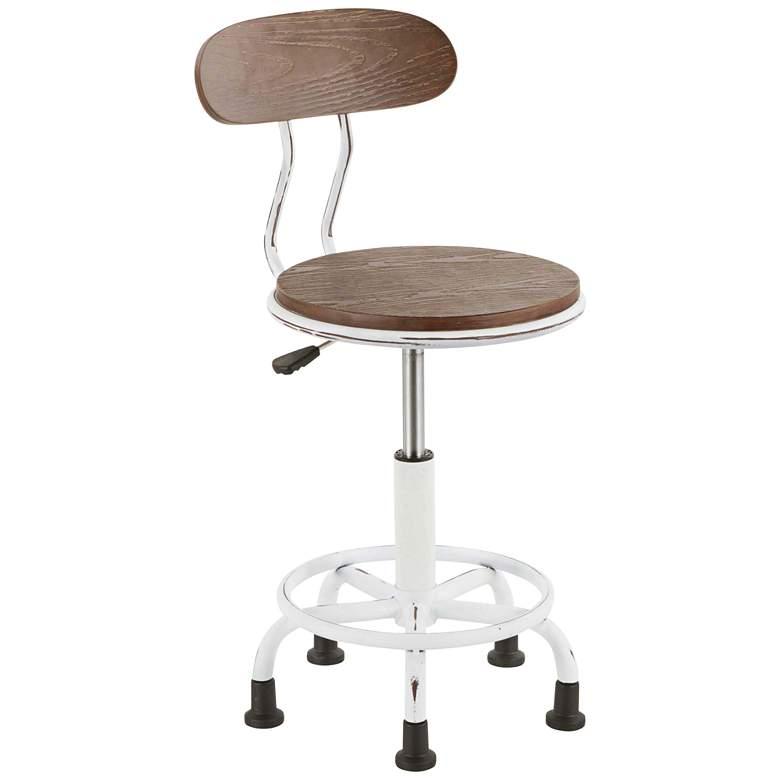 Dakota Vintage White and Espresso Adjustable Task Chair