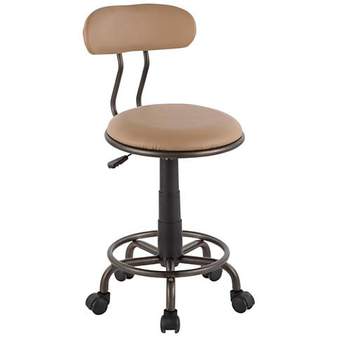 Swift Camel Faux Leather Adjustable Swivel Task Chair