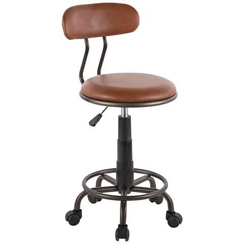 Swift Brown Faux Leather Adjustable Swivel Task Chair