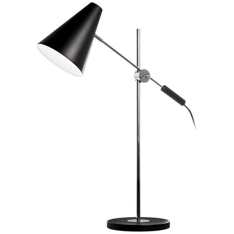 Mezza Black and Polished Chrome Adjustable Desk Lamp
