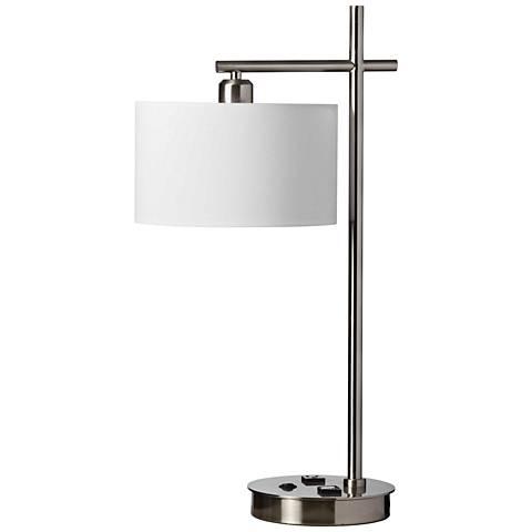 Duggar Satin Chrome Desk Lamp with USB Port and Receptacle