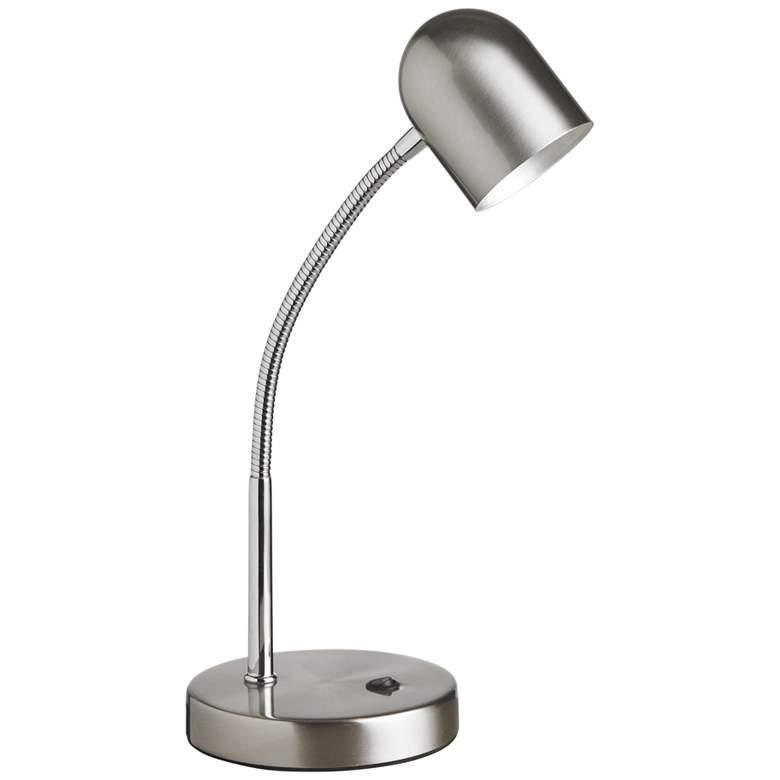 Noah Satin Chrome Gooseneck LED Desk Lamp