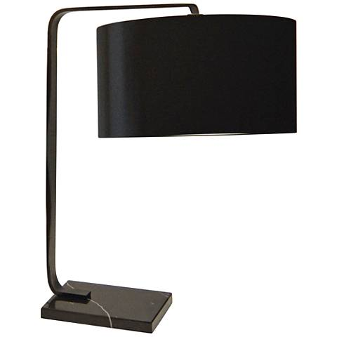 Belitta Black Metal Desk Lamp with Fabric Shade