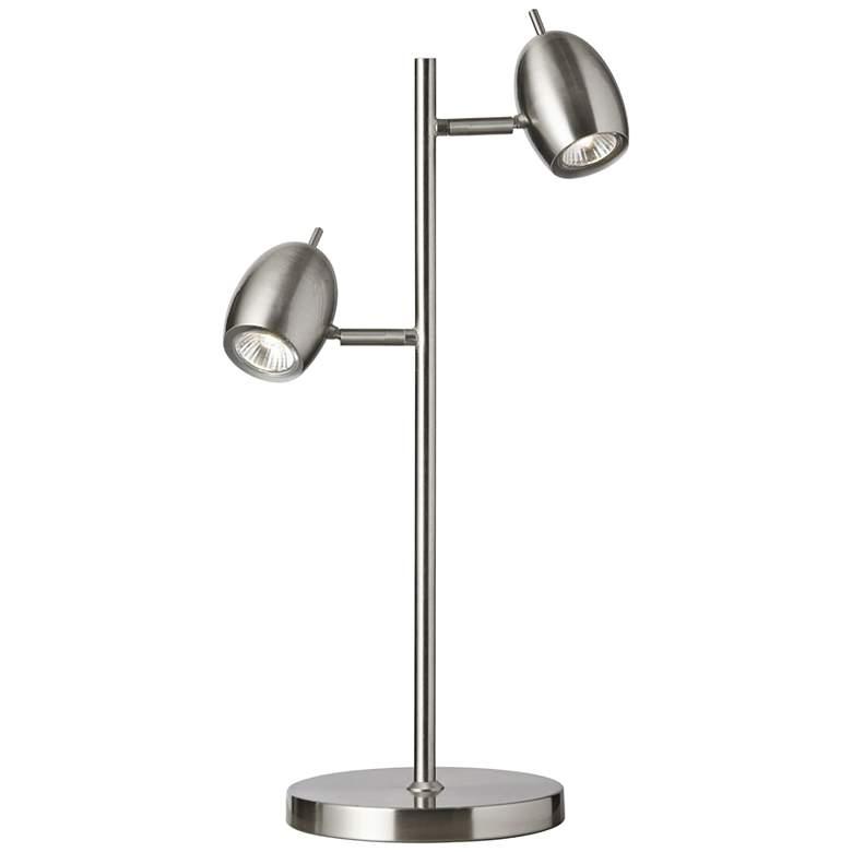 Longo Satin Chrome 2-Light Adjustable Heads Table Lamp