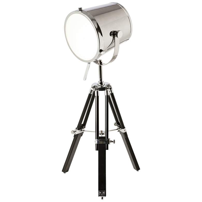 new concept 23af6 53d13 Miller Chrome Metal Tripod Spotlight Table Lamp