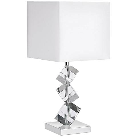 Wilson Polished Chrome Accent Table Lamp with Crystal Cubes