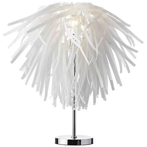 Artis White Vinyl Table Lamp with Chrome Base