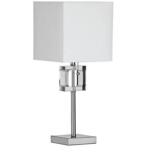 Vert Polished Chrome with Square Crystal Accent Table Lamp