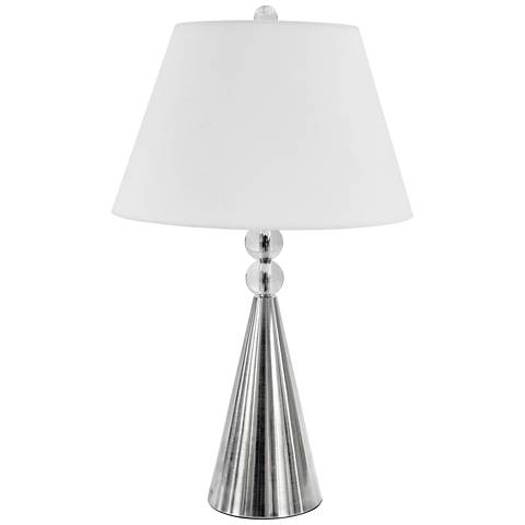 Orbed Satin Chrome Table Lamp with Optical Crystal Accents