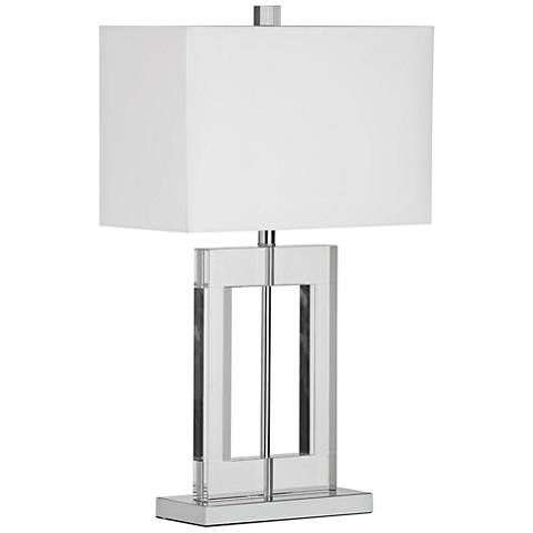 Figure Rectangular Crystal Table Lamp with White Shade