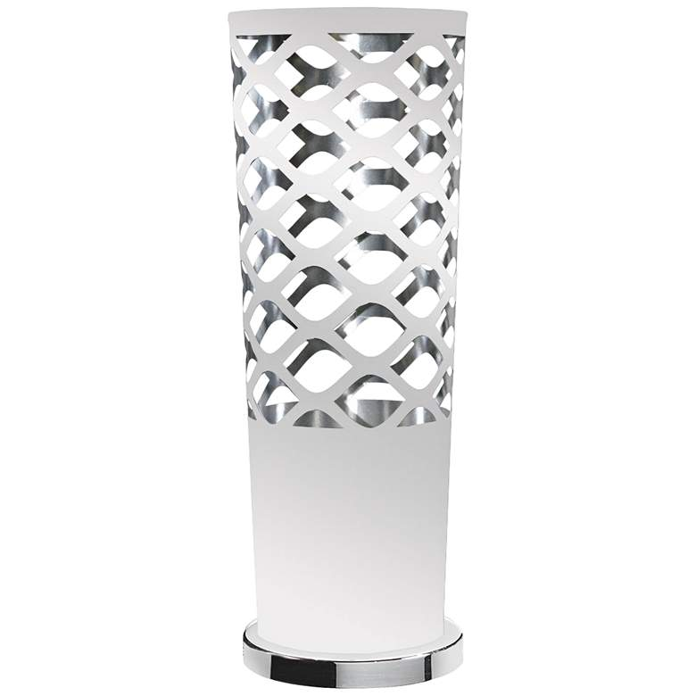 Cut Out JTone White and Silver Accent Table Lamp