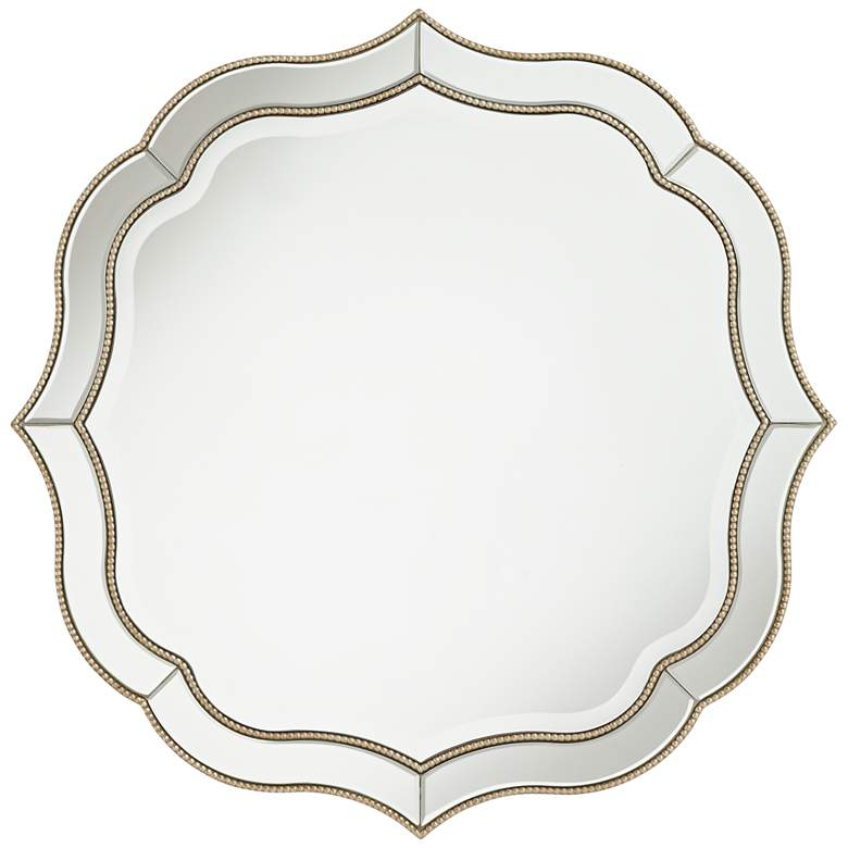 "Laureen Champagne 32"" Scalloped Round Wall Mirror"