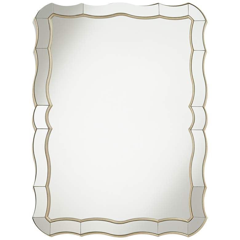 "Janessa Antique Silver 30"" x 40"" Scalloped Wall Mirror"
