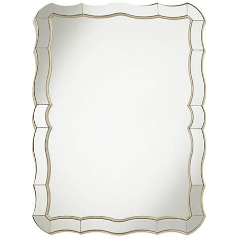 "Janessa Antique Silver 30"" x 40"" Scalloped Wall Mirror"