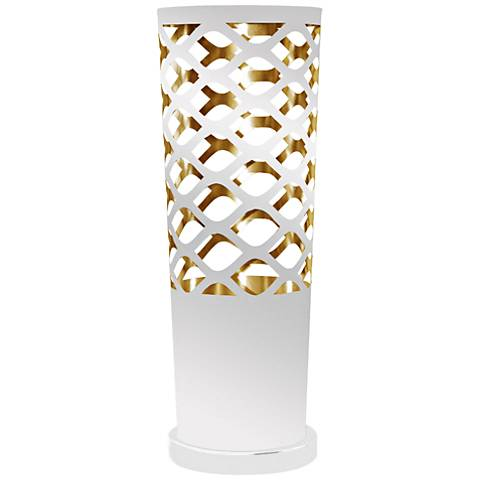Cut Out JTone White and Gold Accent Table Lamp