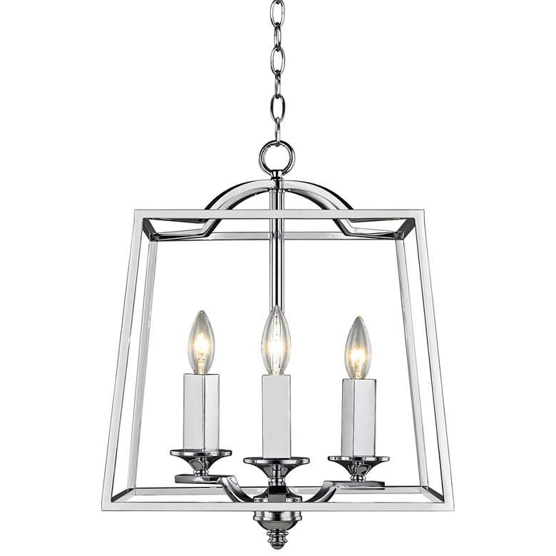 "Athena 14 1/2"" Wide Chrome 3-Light Open Cage Foyer Pendant"