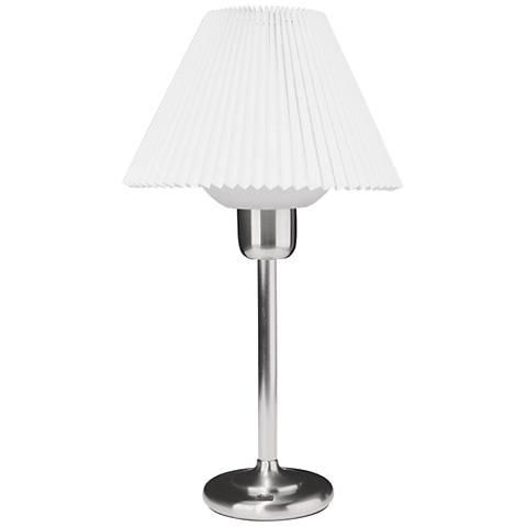 Quip Satin Chrome Metal Table Lamp with 200 Watt Bulb