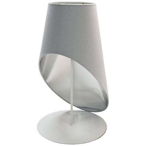 Slanted Drum White and Silver Table Lamp