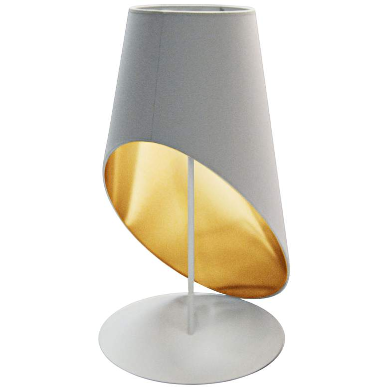 Slanted Drum White and Gold Table Lamp