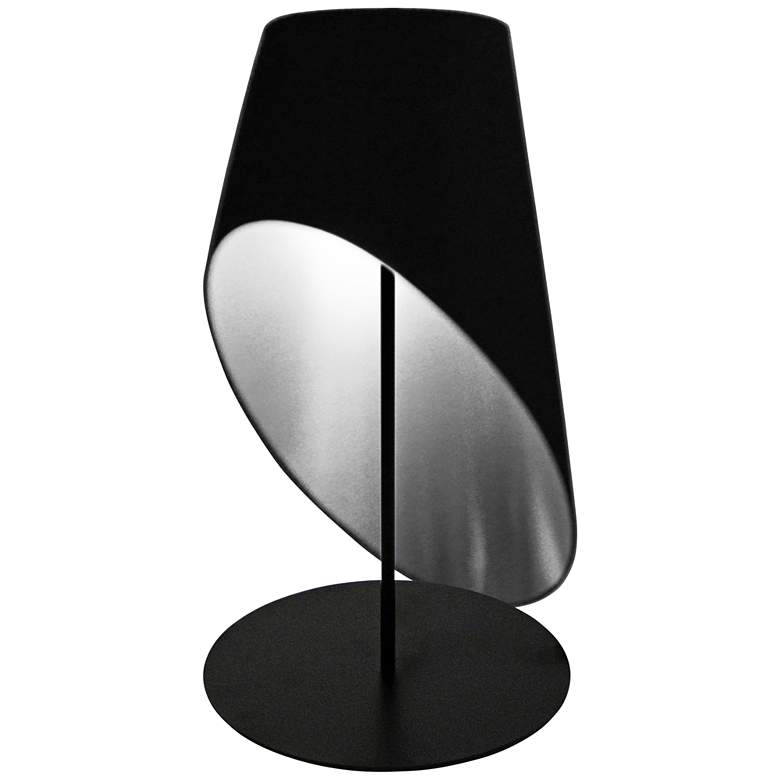 Slanted Drum Black and Silver Table Lamp