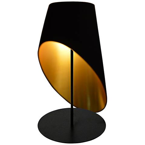 Slanted Drum Black and Gold Table Lamp