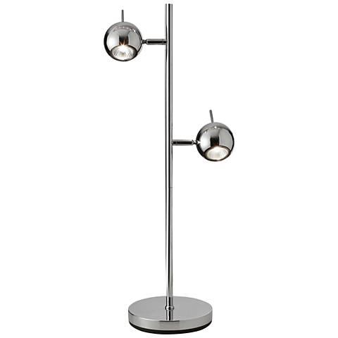 "Metron 18"" High Polished Chrome 2-Light Spotlight Table Lamp"