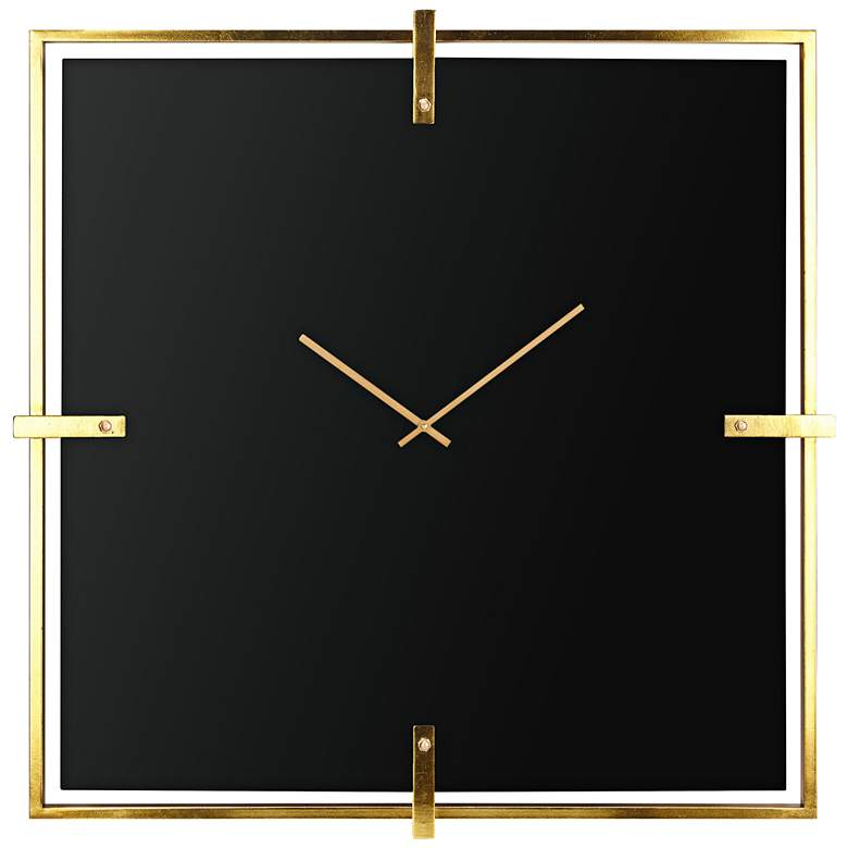 "Connell Black 36"" Square Glass Wall Clock"