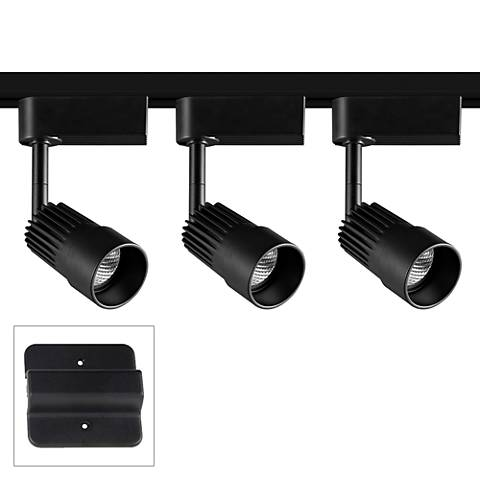 3-Light Black Swivel Head LED Floating Canopy Track Kit