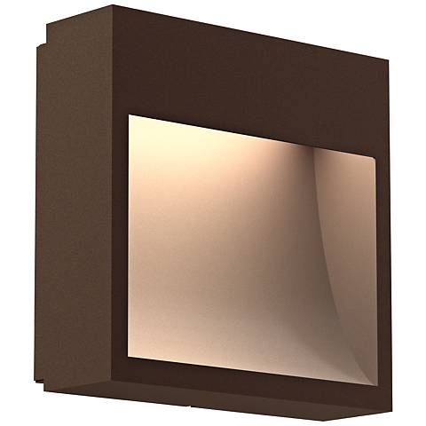 "Inside Out Square Curve™ 7""H Bronze LED Outdoor Wall Light"