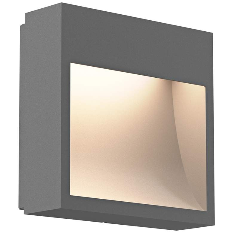 """Inside Out Square Curve 7""""H Gray LED Outdoor Wall Light"""