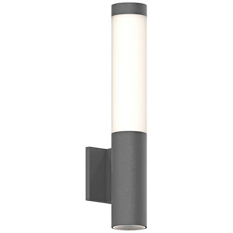 "Inside Out Round Column™ 19""H Gray LED Outdoor Wall Light"