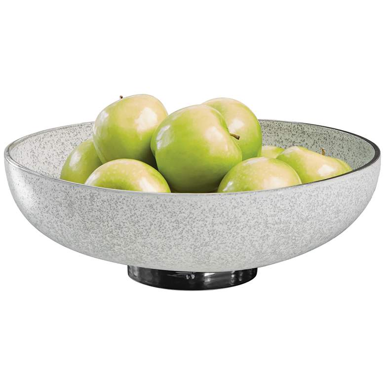 """Gray and Silver Banded 14"""" Wide Ceramic Decorative Bowl"""