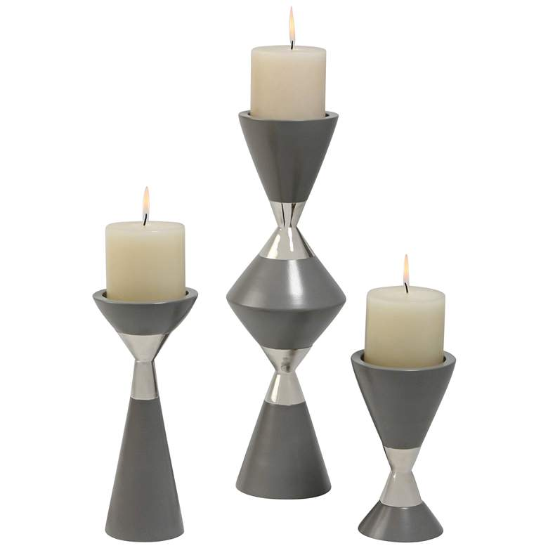 Hourglass Gray and Nickel Pillar Candle Holders Set