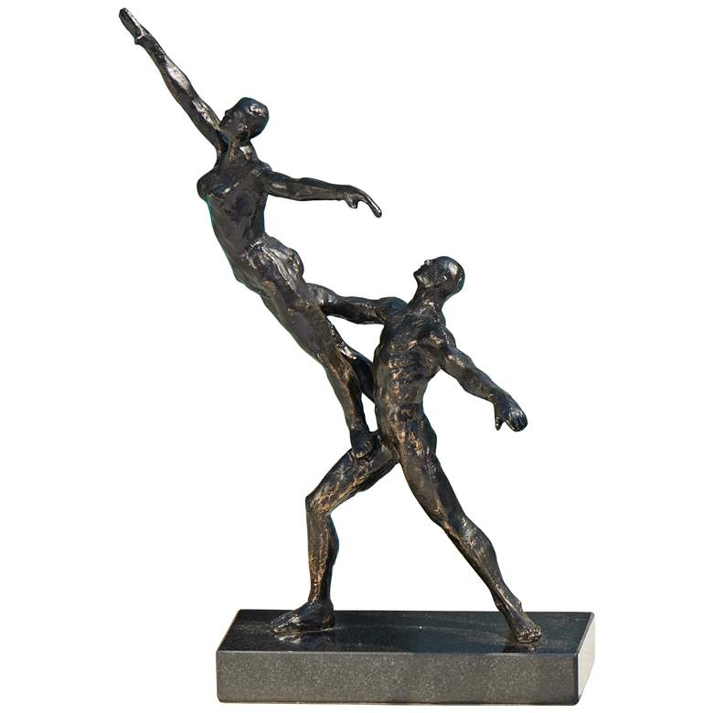 "Dancers Standing Lift 13 1/2"" High Bronze Iron Statue"