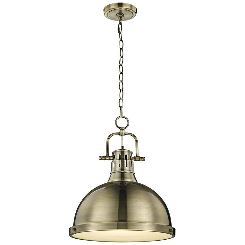 """Duncan 14"""" Wide Aged Brass Pendant Light with Chain"""