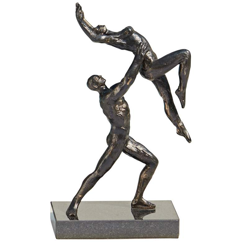 """Dancers Two Arm Lift 12"""" High Bronze Iron Statue"""