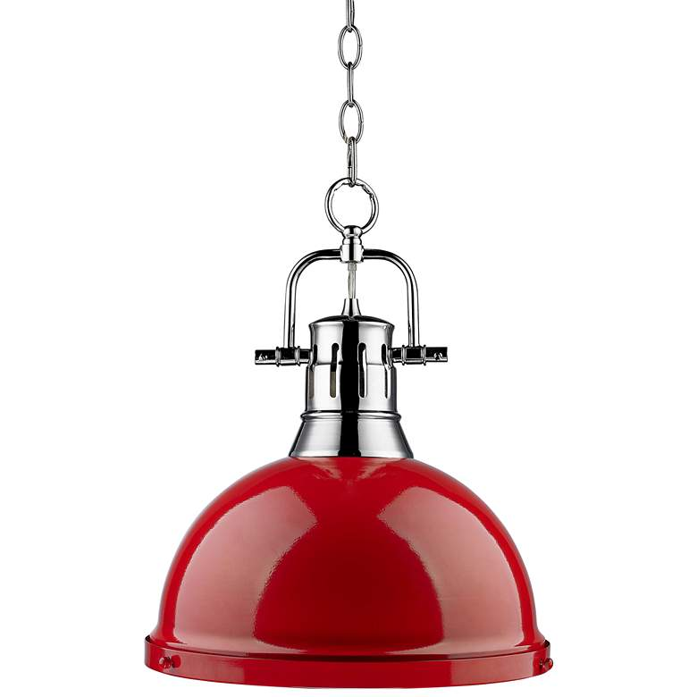 """Duncan 14"""" Wide Chrome and Red Pendant Light with Chain"""