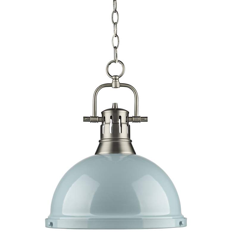 """Duncan 14"""" Wide Pewter and Seafoam Pendant Light with Chain"""