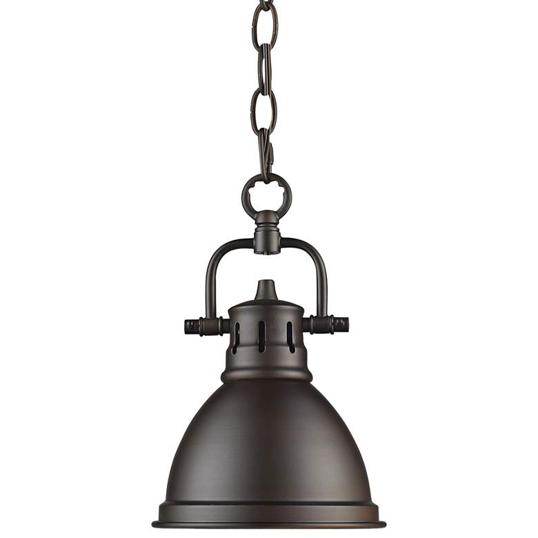 """Duncan 6 1/2"""" Wide Rubbed Bronze Mini Pendant with Chain"""