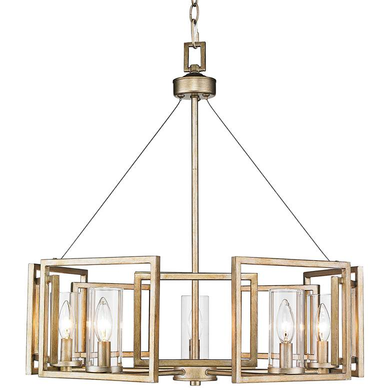 """Marco 24 1/2"""" Wide White Gold 5-Light Chandelier"""