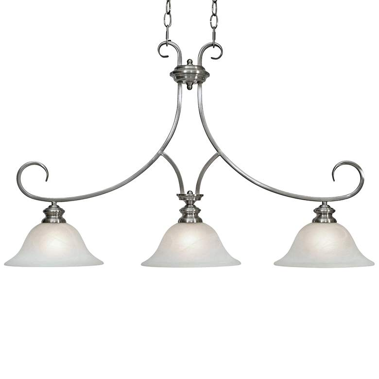 "Lancaster 36"" Wide Pewter 3-Light Island Pendant"