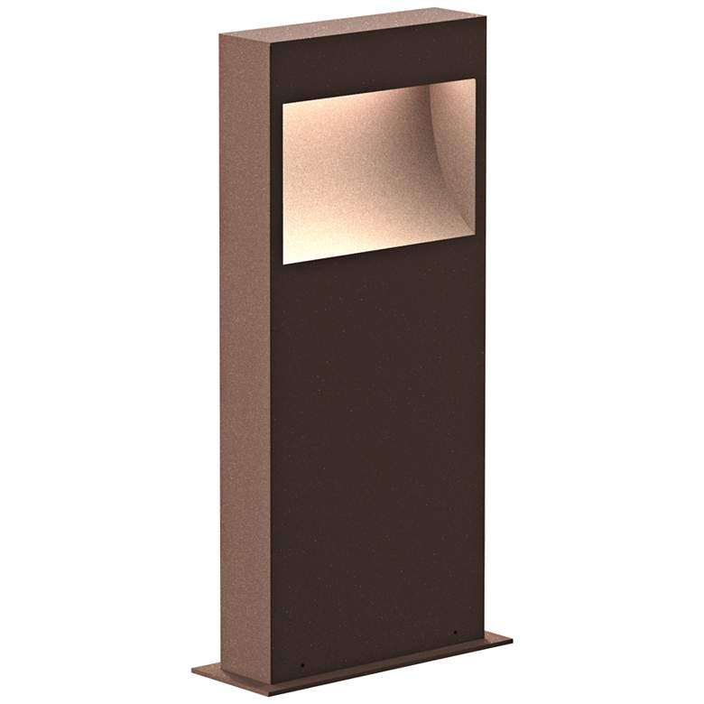 """Inside Out Square Curve 16""""H Textured Bronze LED Bollard"""