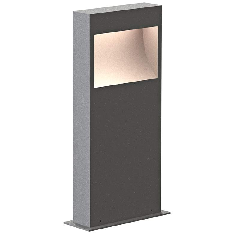 """Inside Out Square Curve 16"""" High Textured Gray LED Bollard"""