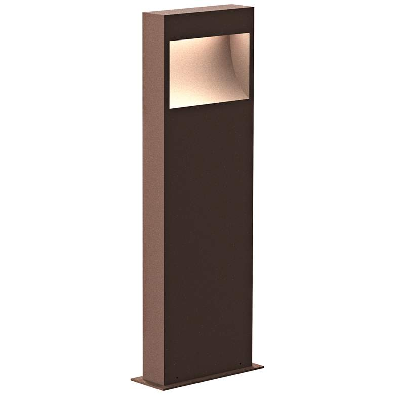 """Inside Out Square Curve 22""""H Textured Bronze LED Bollard"""