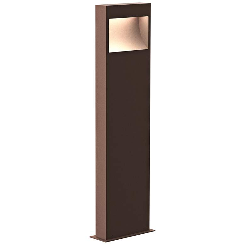"""Inside Out Square Curve 28""""H Textured Bronze LED Bollard"""