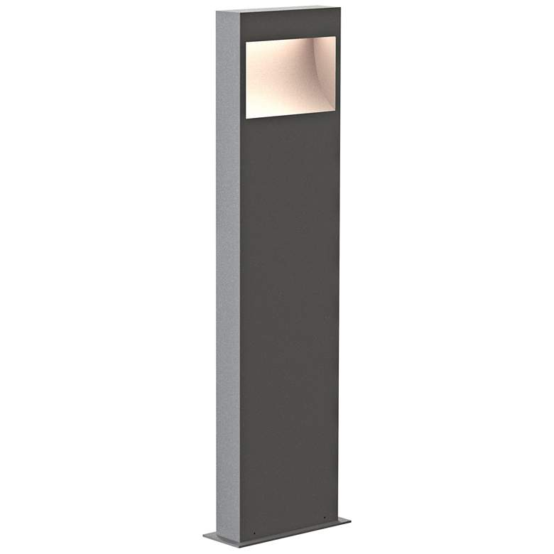 """Inside Out Square Curve 28"""" High Textured Gray LED Bollard"""