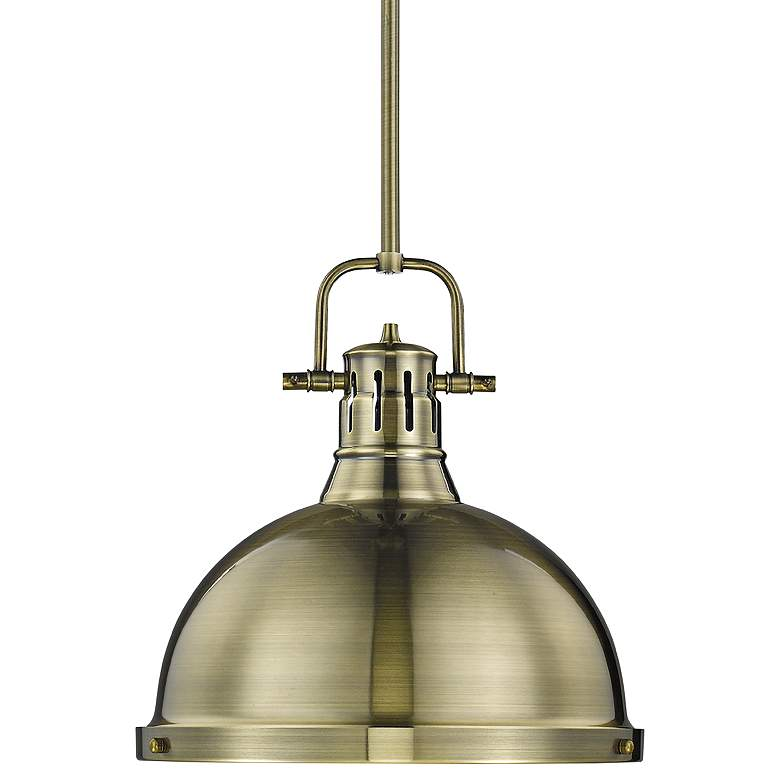 """Duncan 14"""" Wide Aged Brass Pendant Light with Rod"""