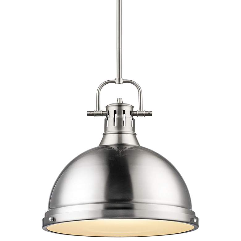 """Duncan 14"""" Wide Pewter Pendant Light with Rod"""