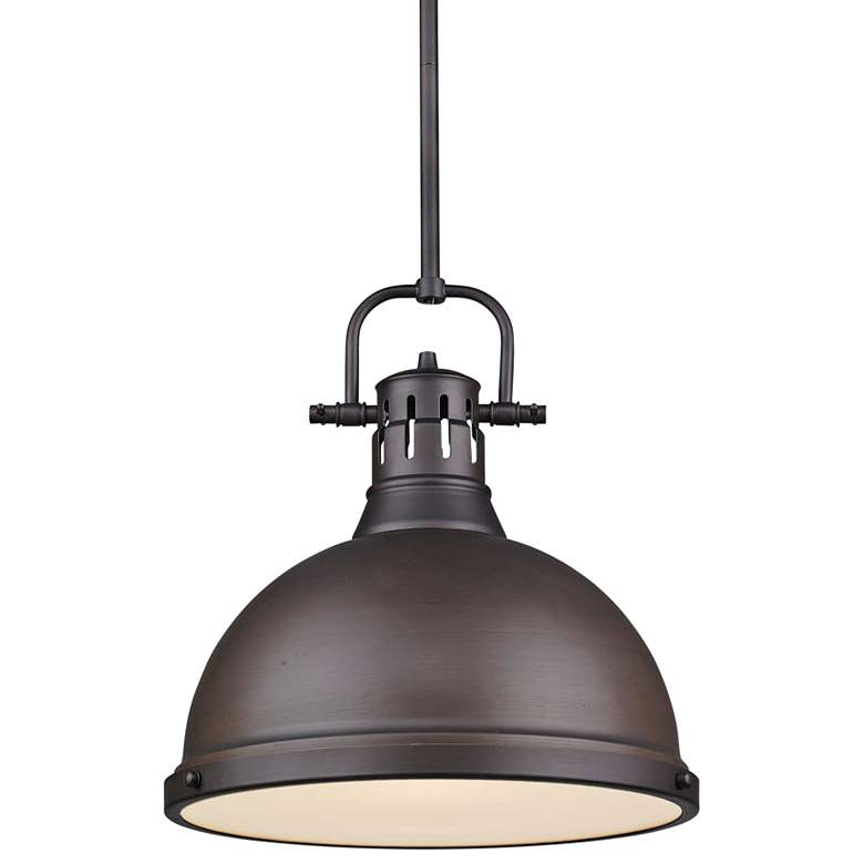 "Duncan 14"" Wide Rubbed Bronze Pendant Light with Rod"